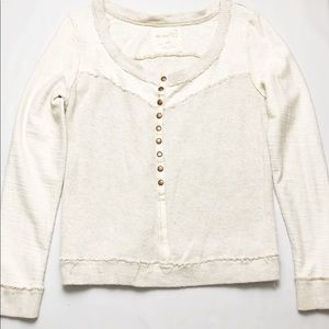 Free People Ribbed Snap Henley